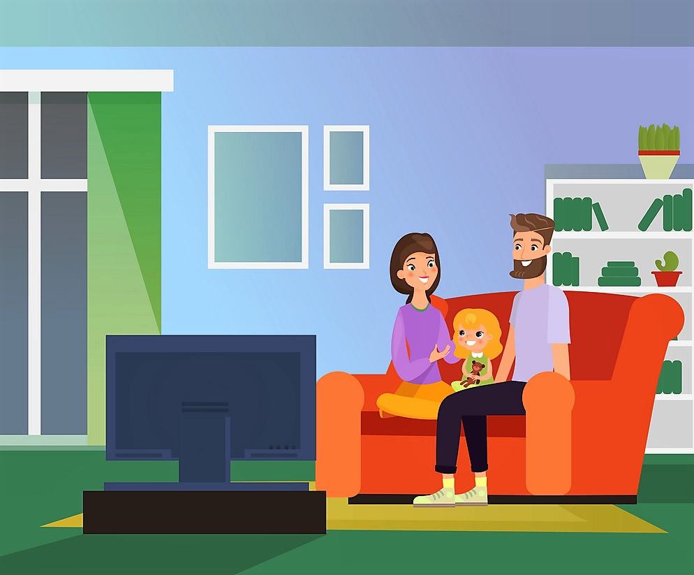 Vector illustration of family together watching TV, family evening. Happy parents and daughter sitting on sofa in living room watch television, cartoon flat style illustration